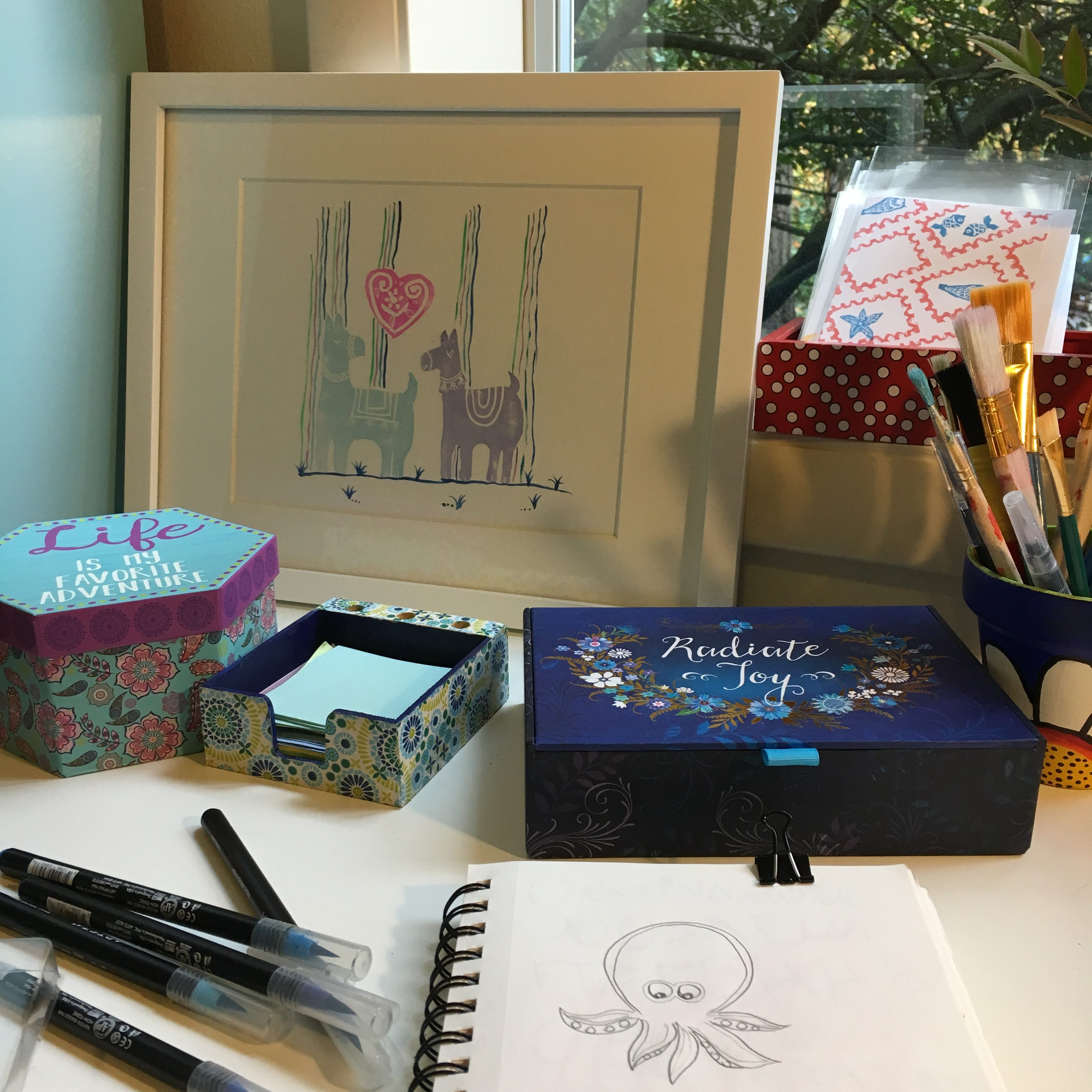 stamp containers, notes, brushes cards and a cute llama print
