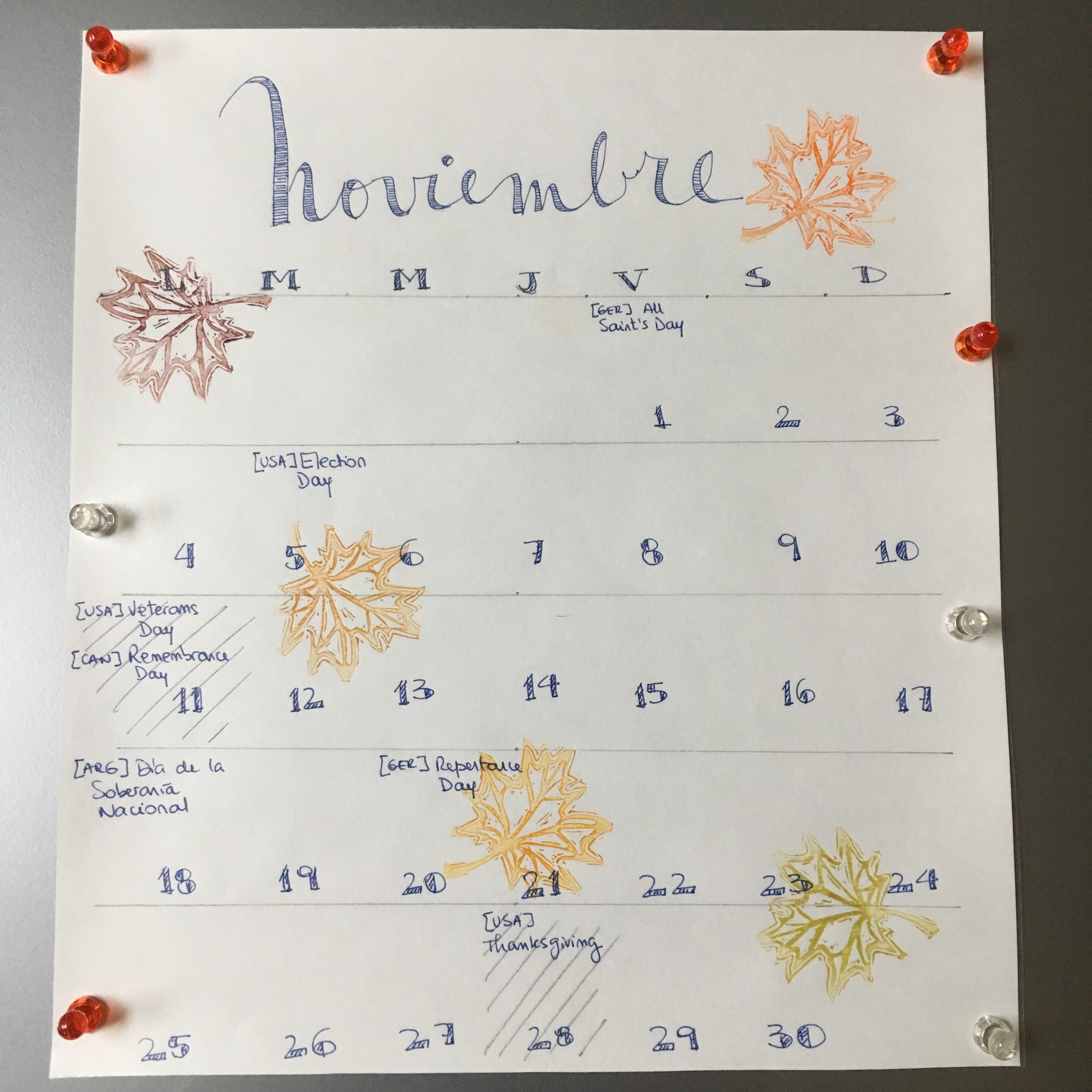 Monthly print with hand carved stamps by My Stamped World