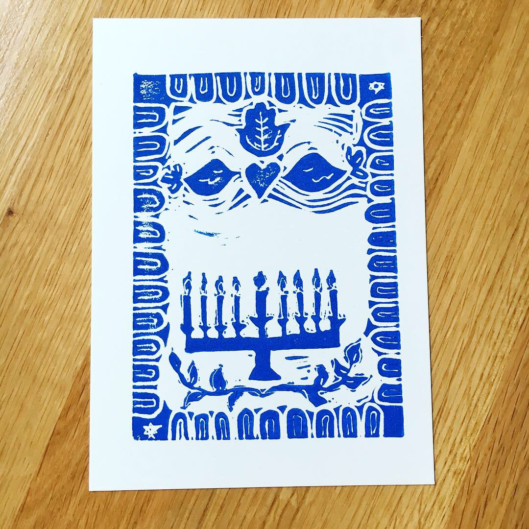 Hanukkah hand printd card with a hand carved stamp