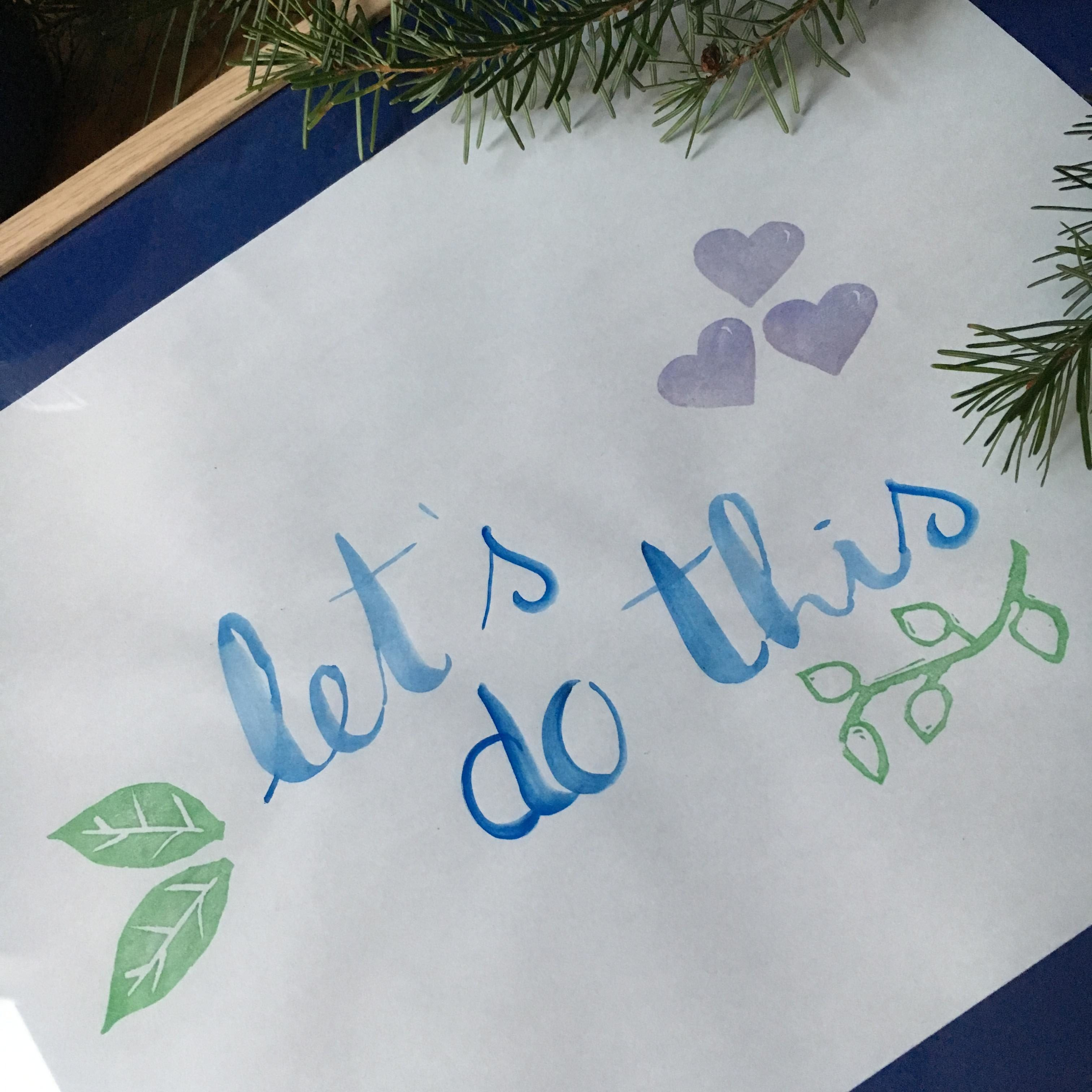 Watercolor hand lettering plus hand carved stamps - mixed media by My Stamped World