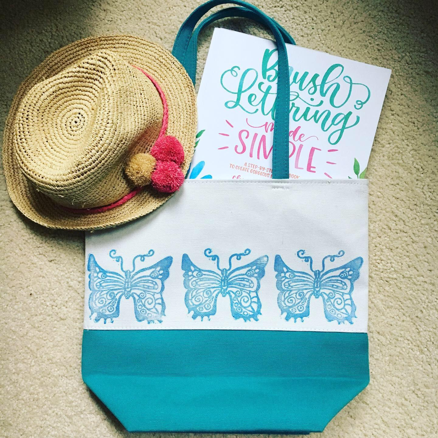 This tote bag features my butterfly stamp on fabric! I'm using all purpose blue ink and it looks amazing. Check out more ideas at www.mystampedworld.com