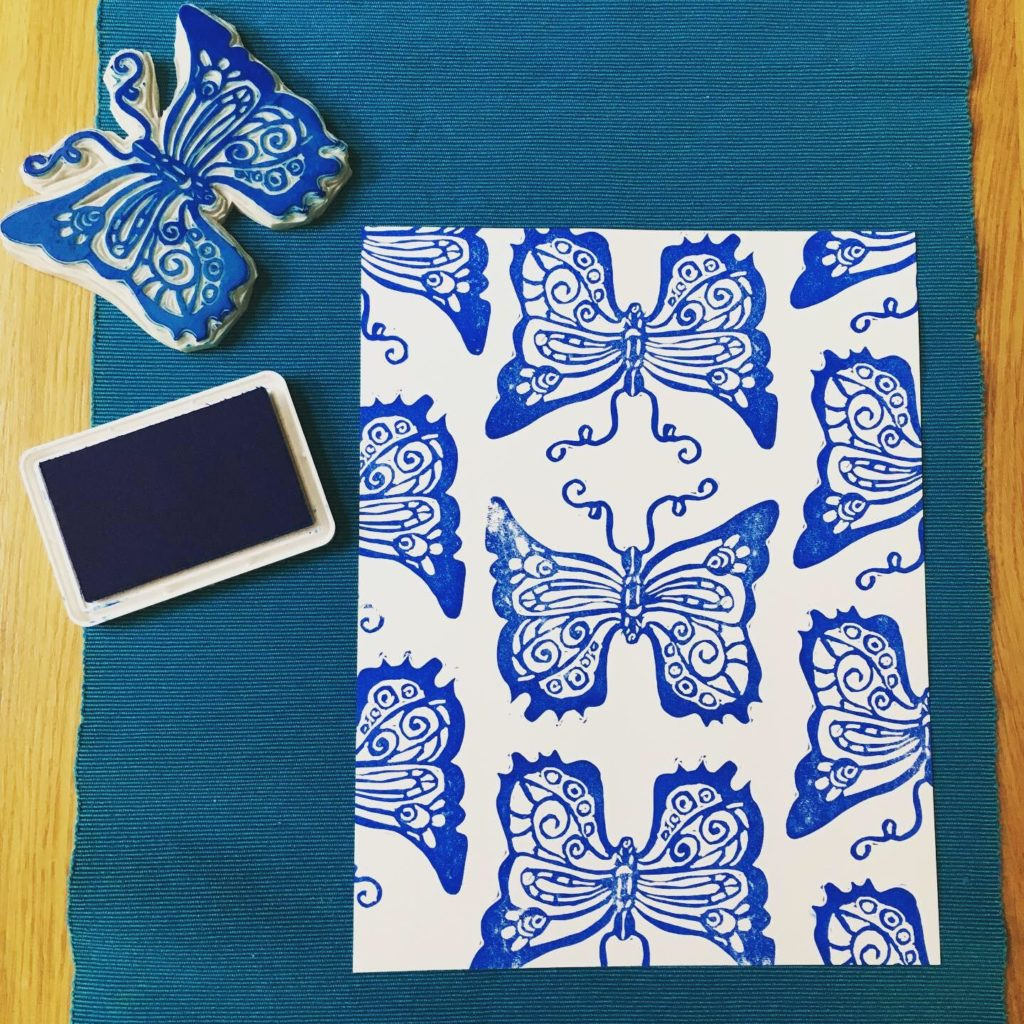 butterfly blue stamp hand printed unique