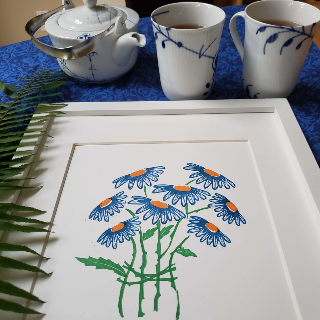 Blue daisies bouquet Print made with handcarved stamps