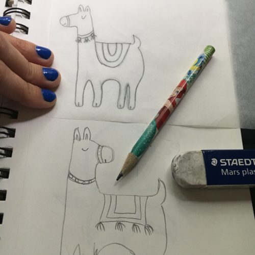 Drafts and sketches are done before you come up to your favorite image to be turned into a rubber stamp.