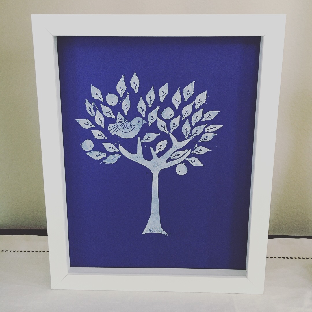 Tree of Life White over blue icon print for My Stamped World